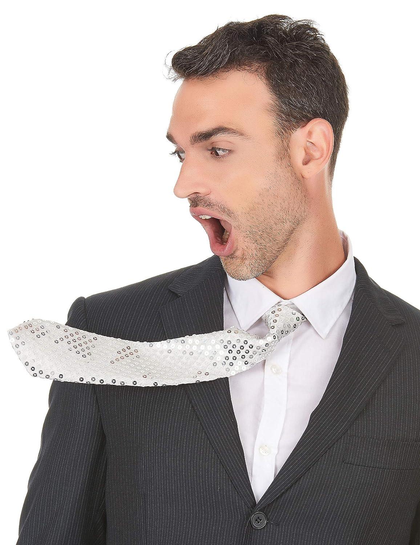 Vegaoo - Corbata Blanca de Lentejuelas Adulto - Única: Amazon.es ...