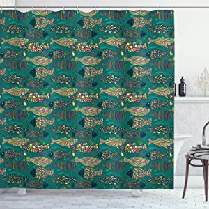 Ambesonne Funky Shower Curtain, Nautical Underwater World Fish with Lines and Coral Reef Ocean Graphic Prin, Cloth Fabric Bathroom Decor Set with Hooks, 70