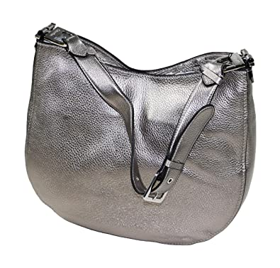 Amazon.com  Calvin Klein Pebbled Leather Large Hobo Purse (Metallic Silver)   Shoes 48423293faff9