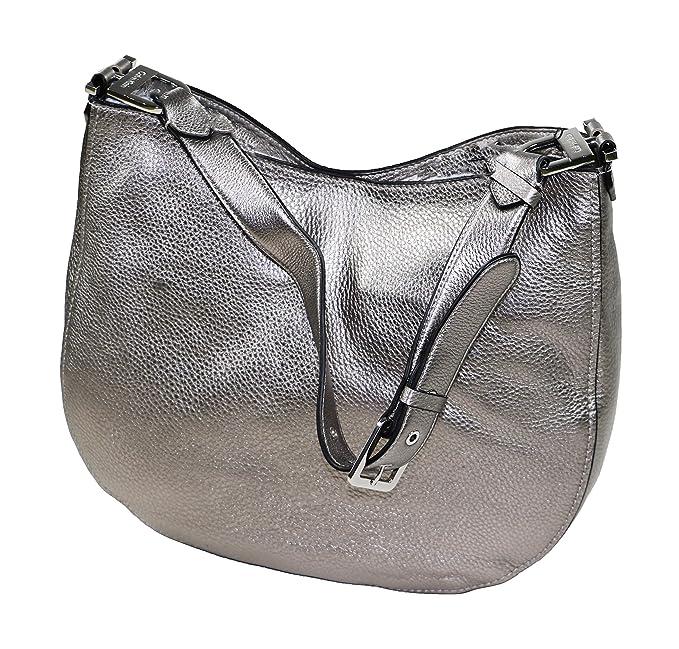 5b17addd3d1 Calvin Klein Pebbled Leather Large Hobo Purse (Metallic Silver ...