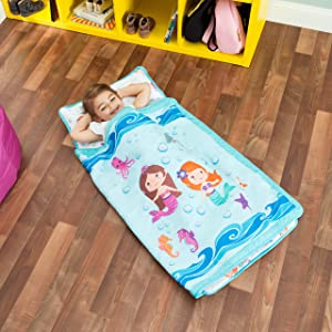 Everyday Kids Toddler Nap Mat with Removable Pillow -Underwater Mermaids- Carry Handle with Fastening Straps Closure, Rollup Design, Soft Microfiber for Preschool, Daycare Sleeping Bag, Ages 2-4 years
