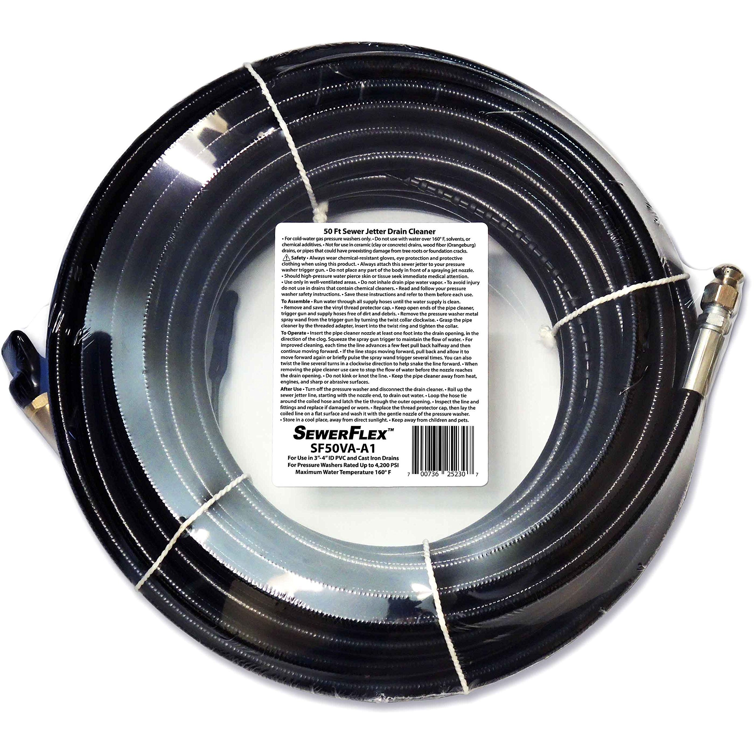 SEWER JETTER - 50 FT DRAIN CLEANER for Your Pressure Washer by SewerFlex