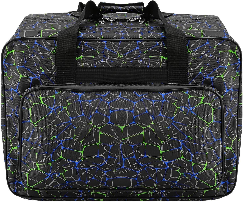 Bolsa de lona impermeable para máquina de coser de gran capacidad, bolsa de almacenamiento para máquina de coser, bolsa de mano portátil para viaje, bolsa de mano acolchada, con bolsillos y asa negro
