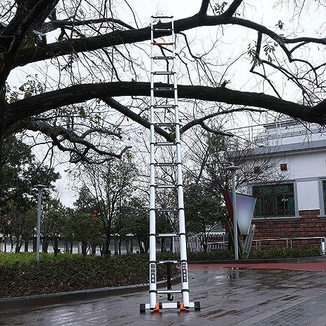 Escalera telescópica de aluminio multiusos, plegable, industrial, compacta, para uso diario o de emergencia, escaleras de escalones portátiles y extensibles, capacidad de carga de 330 libras: Amazon.es: Bricolaje y herramientas