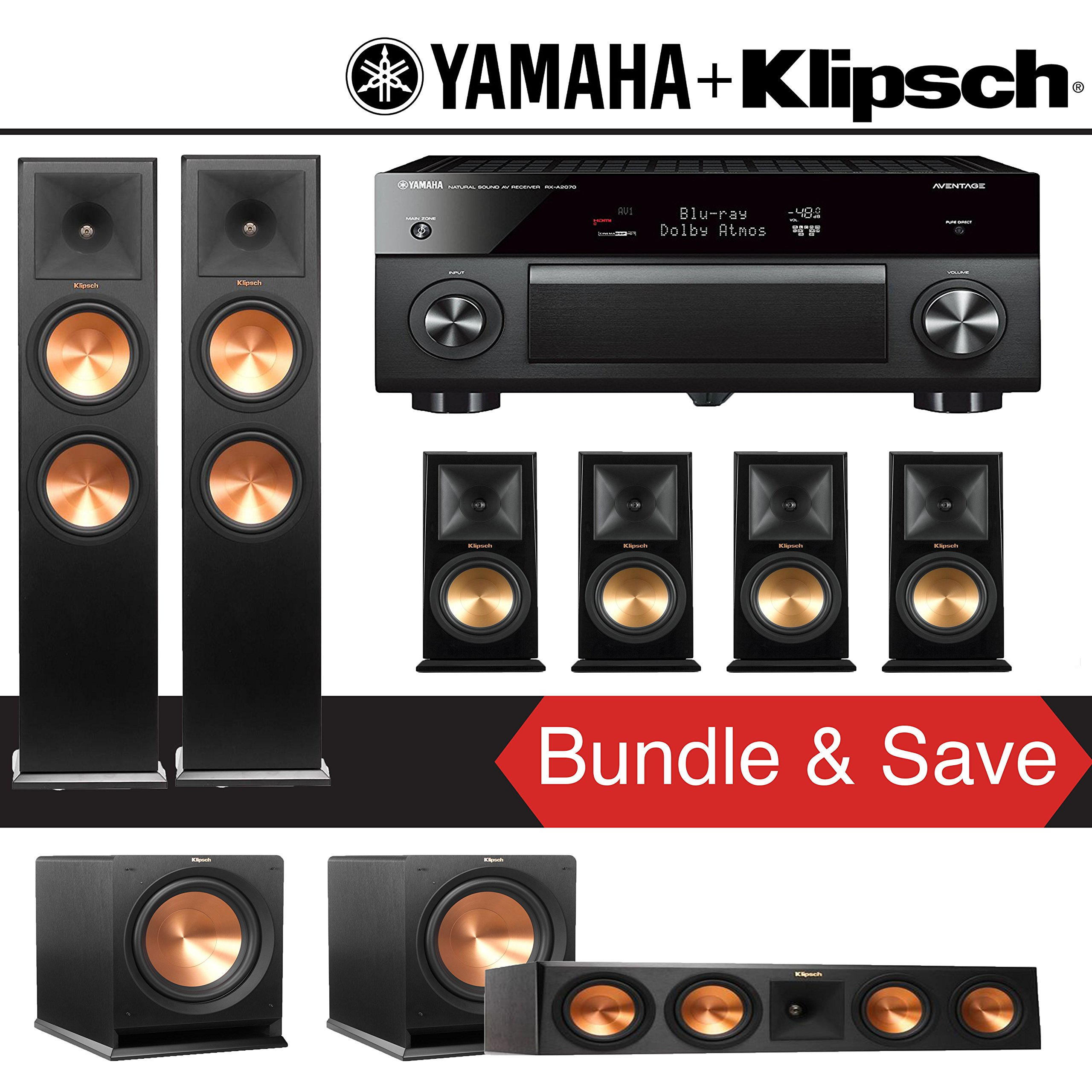 Klipsch RP-280F 7.2-Ch Reference Premiere Home Theater System with Yamaha AVENTAGE RX-A2070BL 9.2-Channel Network A/V Receiver