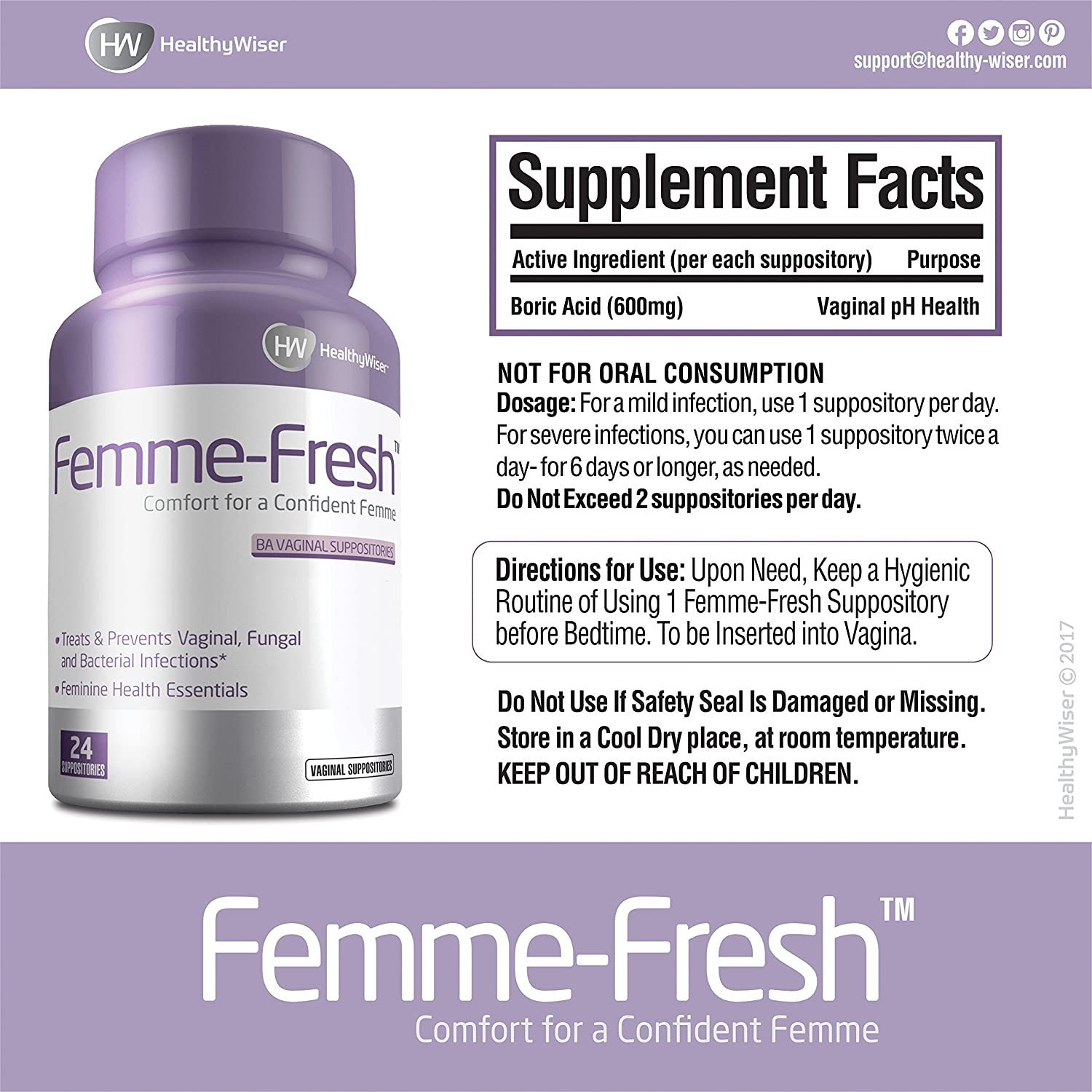 Boric Acid Vaginal Suppositories - Feminine Health Support & pH Balance -  Prevents Yeast Infections,