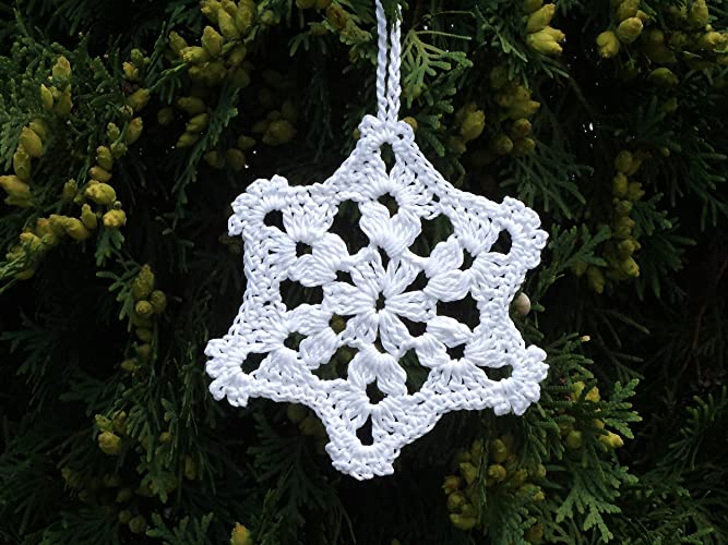 Crochet Christmas Ornaments.Crochet Snowflakes Christmas Ornaments White Crocheted Snowflake Christmas Home Decor