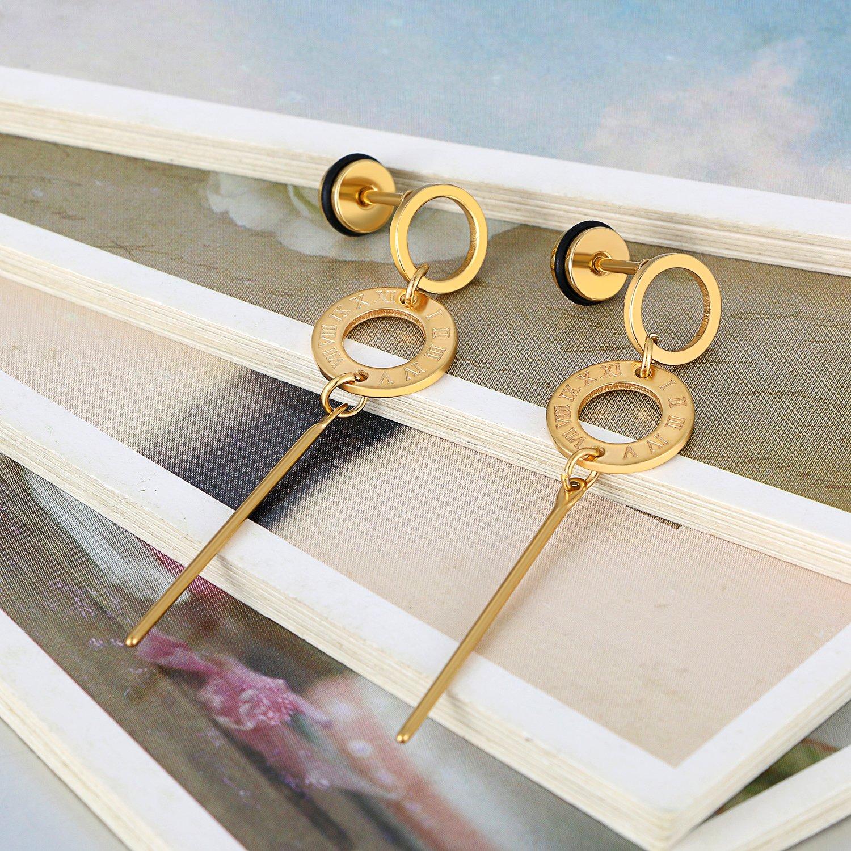 Flongo Womens Girls Vintage Stainless Steel Round Circle Roman Numberals Tassel Stud Earrings