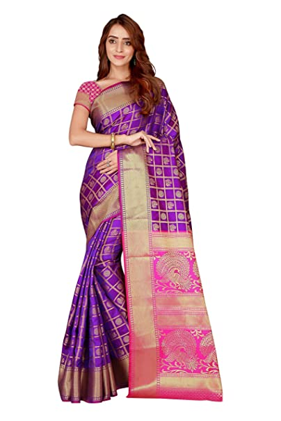 b6075a2b17169d Store Blue Color Beautiful Kanjivaram Silk Patola Saree with Blouse Piece  For Women