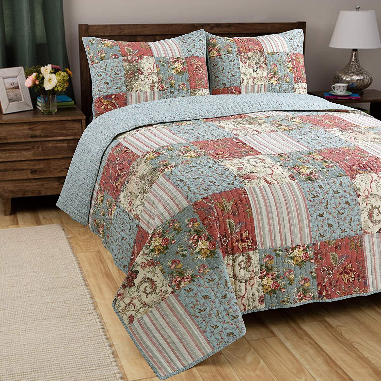 Brown Grid, Queen - 3 Piece Gift for Men Soft Touching Striped Real Patchwork Brown Plaid Country Style Reversible Coverlet Bedspread Set Cozy Line Home Fashions Brody Quilt Bedding Set