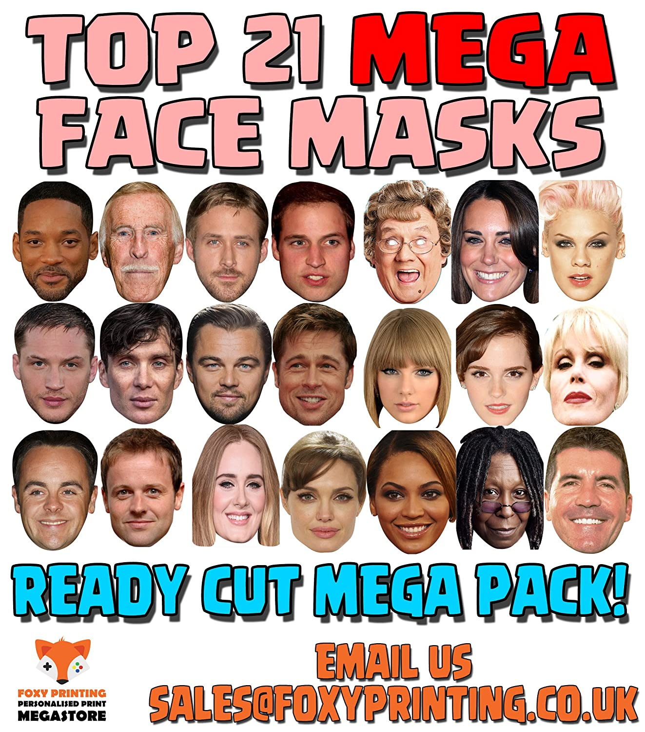 Personalised Face Photo Masks Birthday Hen Stag DIY Assembled Wholesale 12 30
