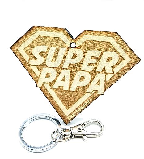 LIKY® Super Papa - Llavero Original de Madera Grabado Regalo ...