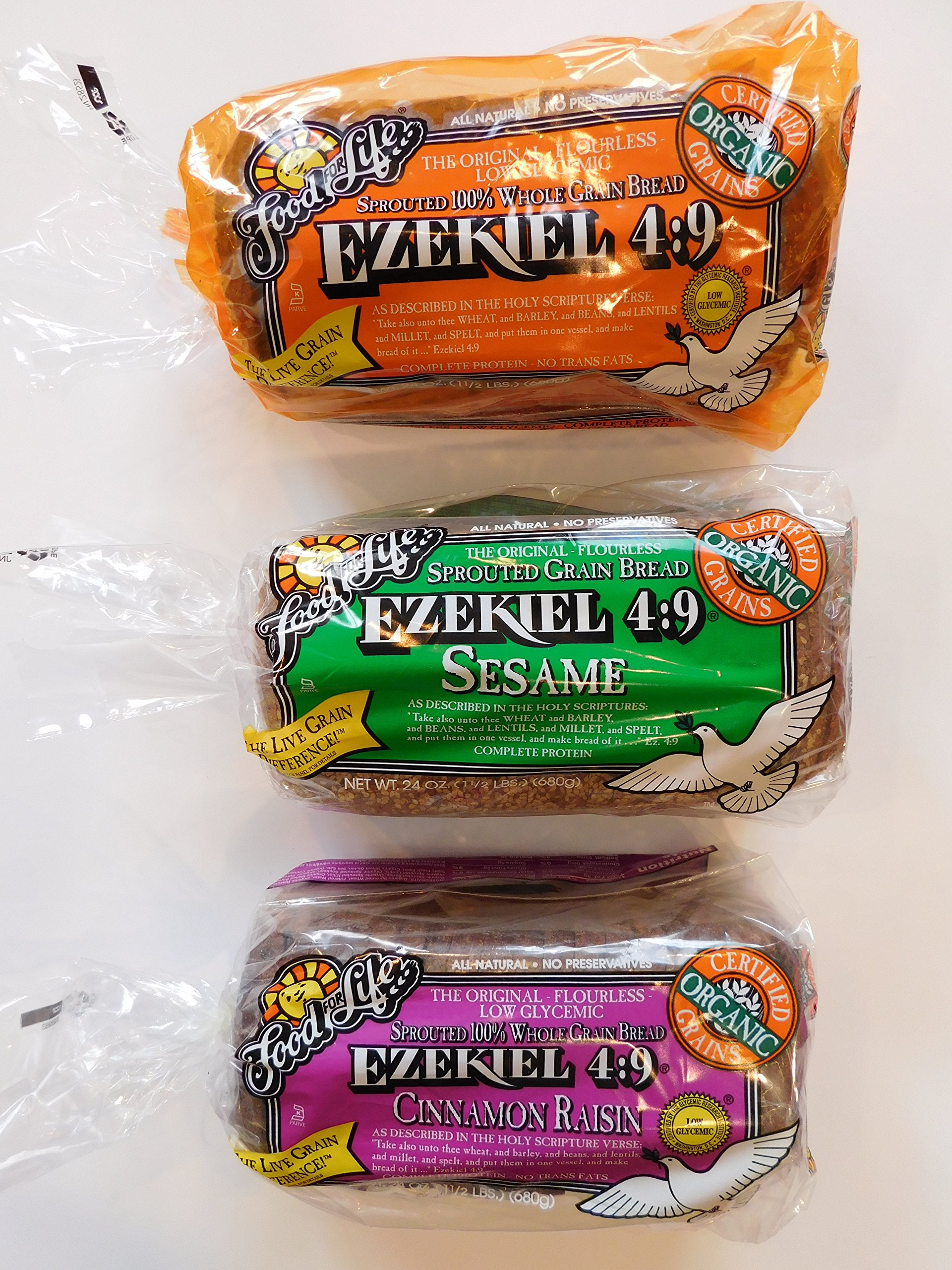 Food for Life, Ezekiel 4:9 Bread, Original Sprouted, Cinnamon Raisin, Sesame 3 Pack by BUNCH OF CHAZARI NO AFFILATION WITH TRADER JOE'S