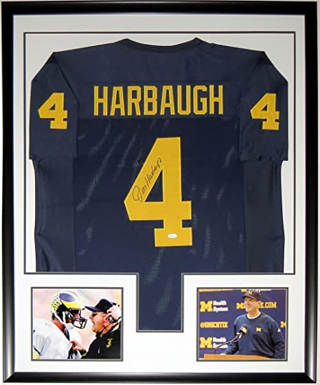 Jim Harbaugh Signed Michigan Wolverines Jersey - JSA COA Authenticated -  Custom Framed   2 8x10 3031c8894