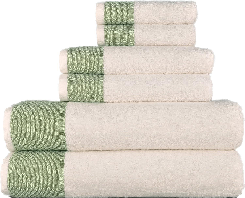 LUNASIDUS Venice Luxury Hotel & Spa Premium 6 pcs Bath Towel Set, 100% Turkish Cotton, Towel Sets, White Towel with Sage Green Stripe