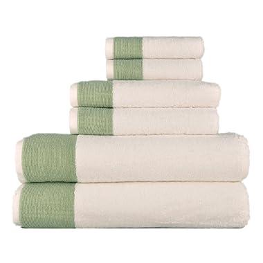 LUNASIDUS Venice Luxury Hotel & Spa Premium 6 pcs Bath Towel Set 100% Turkish Cotton, White Sage Green Stripe