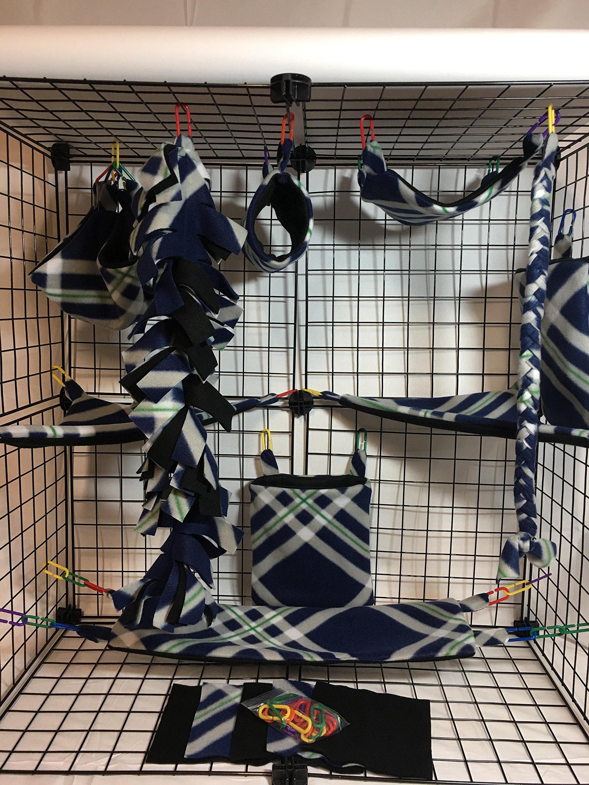 15 Piece Navy Blue,Gray,Green & White Sugar Glider Cage Set