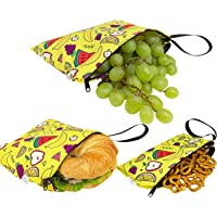 Double Layers Water Resistance Reusable Snack Bags (3-Pack) Safe for Kids
