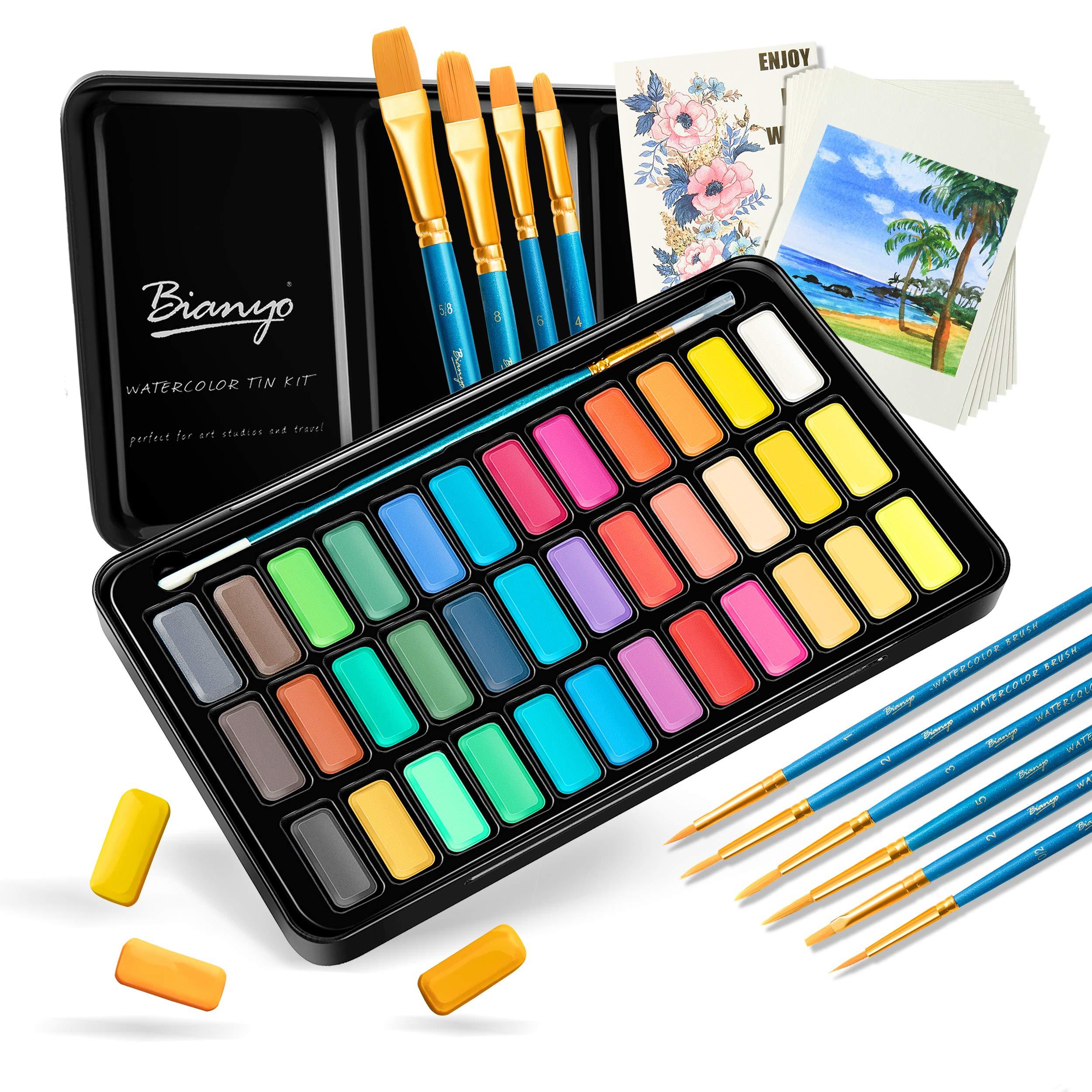 36 Colors Watercolor Paint Set with 10+1 pcs Watercolor Brushes 8 pcs