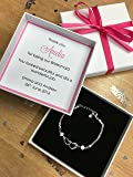 Personalised Wedding Thank You Gift for Bridesmaid Maid of Honour Heart Bracelet Pink Favour Box