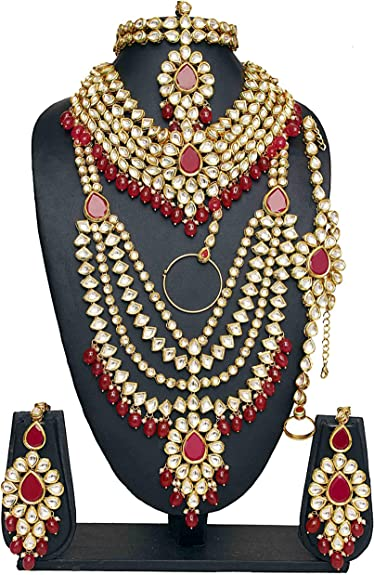 Bollywood Fashion vergoldet Kundan Stein Halskette Ohrringe
