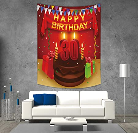 IPrint Polyester Tapestry Wall Hanging30th Birthday DecorationsCelebration With Chocolate Cream Cake Colorful