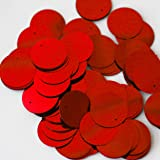 20mm Round SEQUIN PAILLETTES ~ Metallic RED ~ Loose sequins for embroidery, bridal, applique, arts, crafts, and embellishment. Made in USA