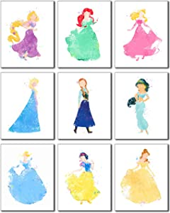 Princess Watercolor Prints - Set of 9 (8 inches x 10 inches) Photos - Rapunzel Ariel Aurora Elsa Anna Jasmine Cinderella Snow White Belle