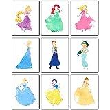 Princess Watercolor Prints - Set of 9 (8 inches x 10 inches) Photos - Rapunzel Ariel Aurora Elsa Anna Jasmine Cinderella…