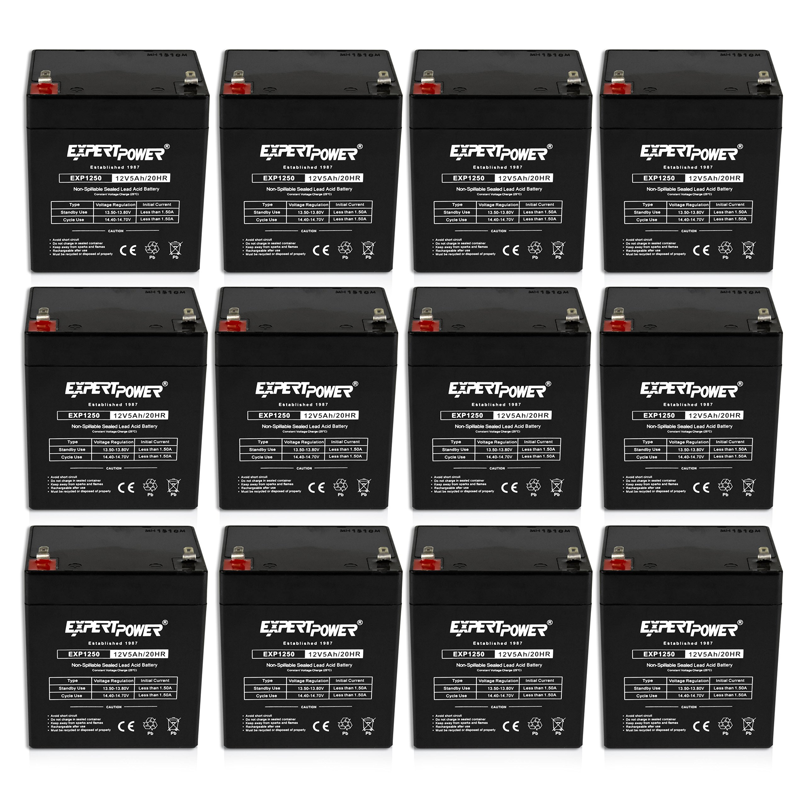 (12 Pack)ExpertPower 12V 5Ah Home Alarm Battery With F1 Terminals || EXP1250 by ExpertPower