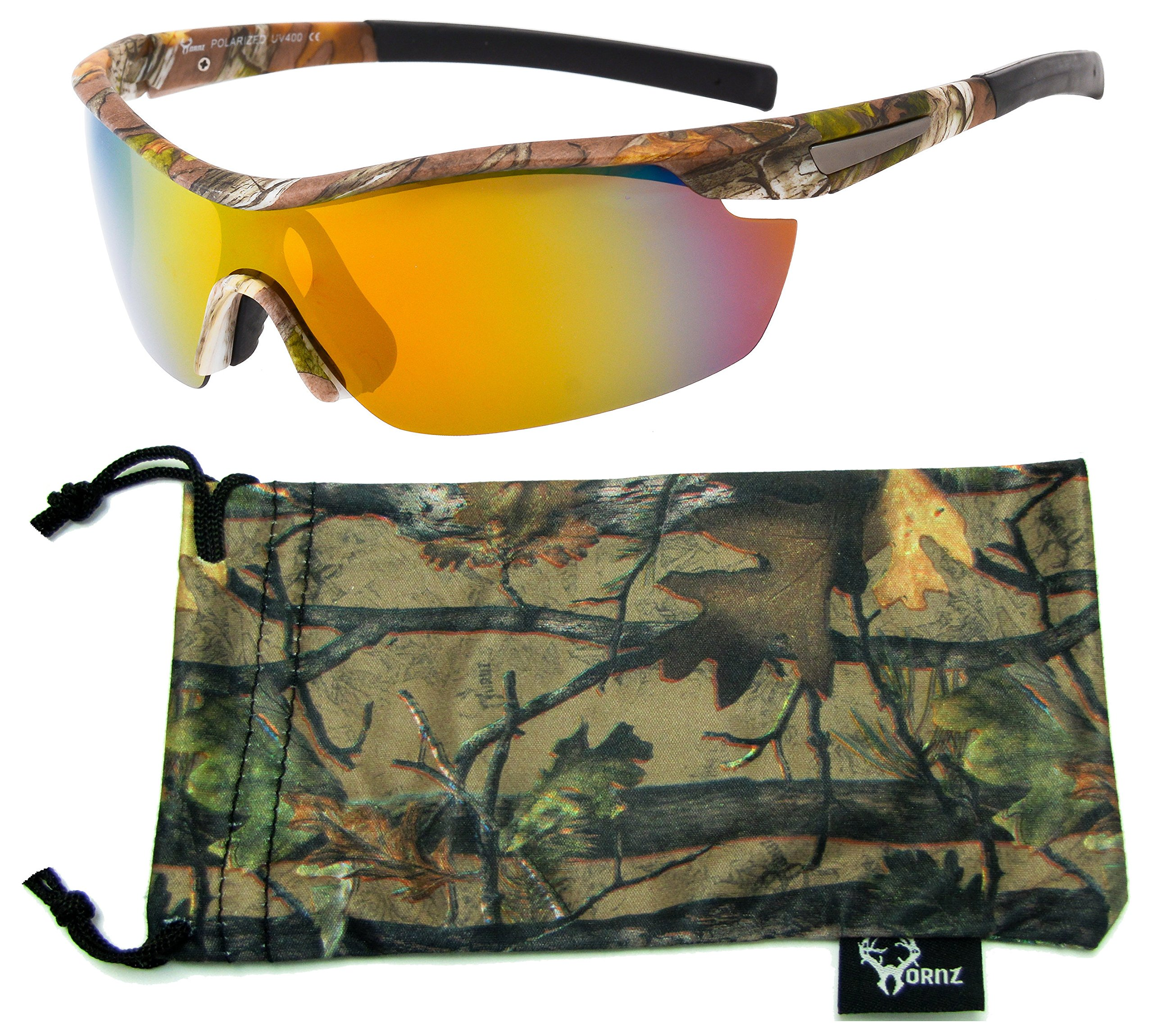 Hornz Brown Forrest Camouflage Polarized Sunglasses for Men Wrap Around Sport Frame & Free Matching Microfiber Pouch - Brown Camo Frame - Orange Lens