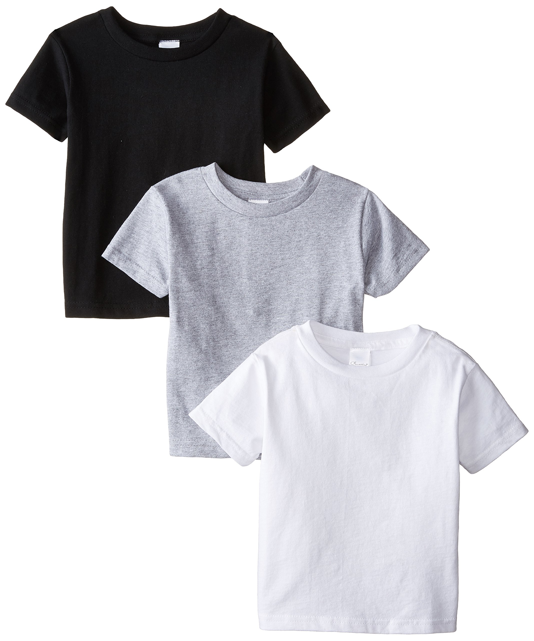 Clementine Little Girls' Toddler Short Sleeve Basic Tee 3-Pack, White/Black/Grey, 2T