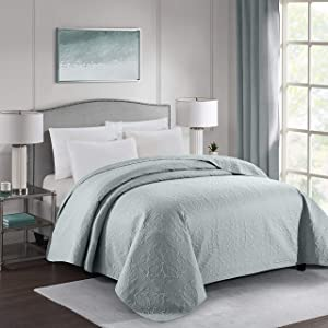 "ALPHA HOME Embossing Bed Quilt Twin Size 68"" 90"" Polyester Lightweight Checked Bedspread Quilt Machine Washable One Piece Duvet Cover Reversible Cozy Coverlets for All Seasons, Gray"