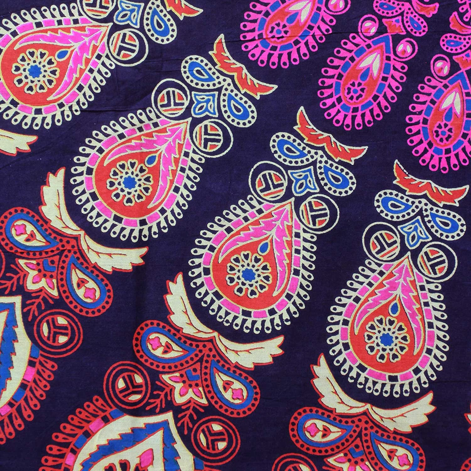 NOVICA Pink and Purple Cotton Floral Wall Tapestry Leafy Mandala In Magenta