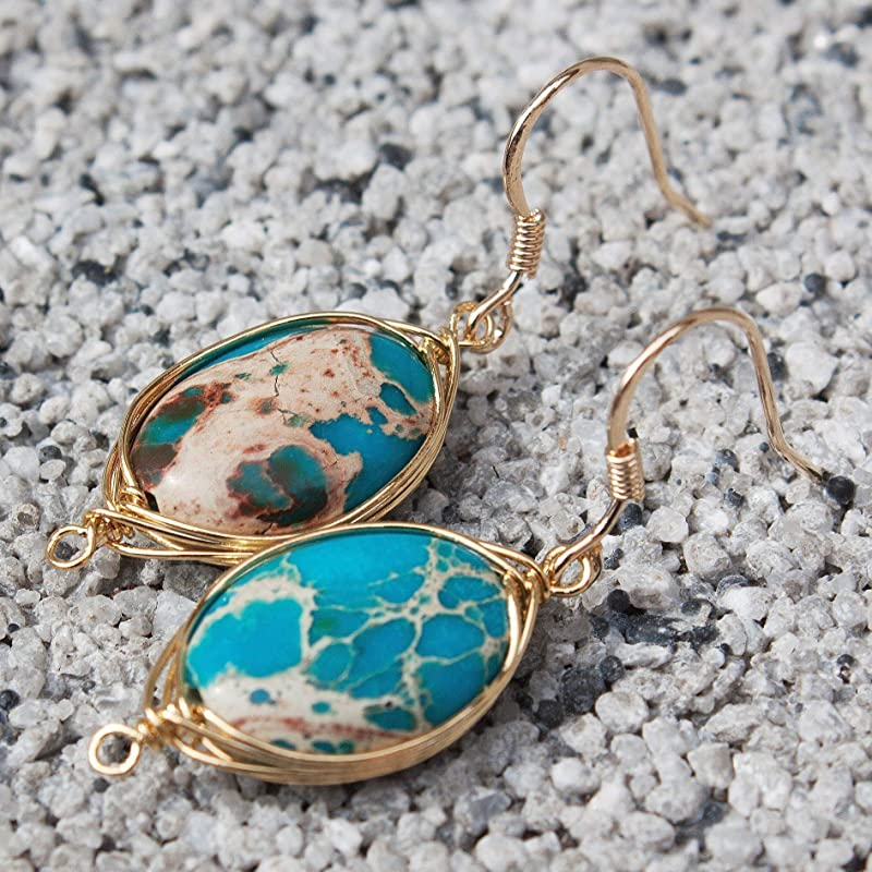 Sterling Gold Plated Natural Jasper Stone  Earrings