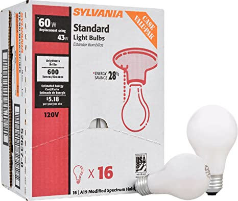 Sylvania Home Lighting 52637 43W 2750K A19 Halogen Bulb, 16 Piece - - Amazon.com