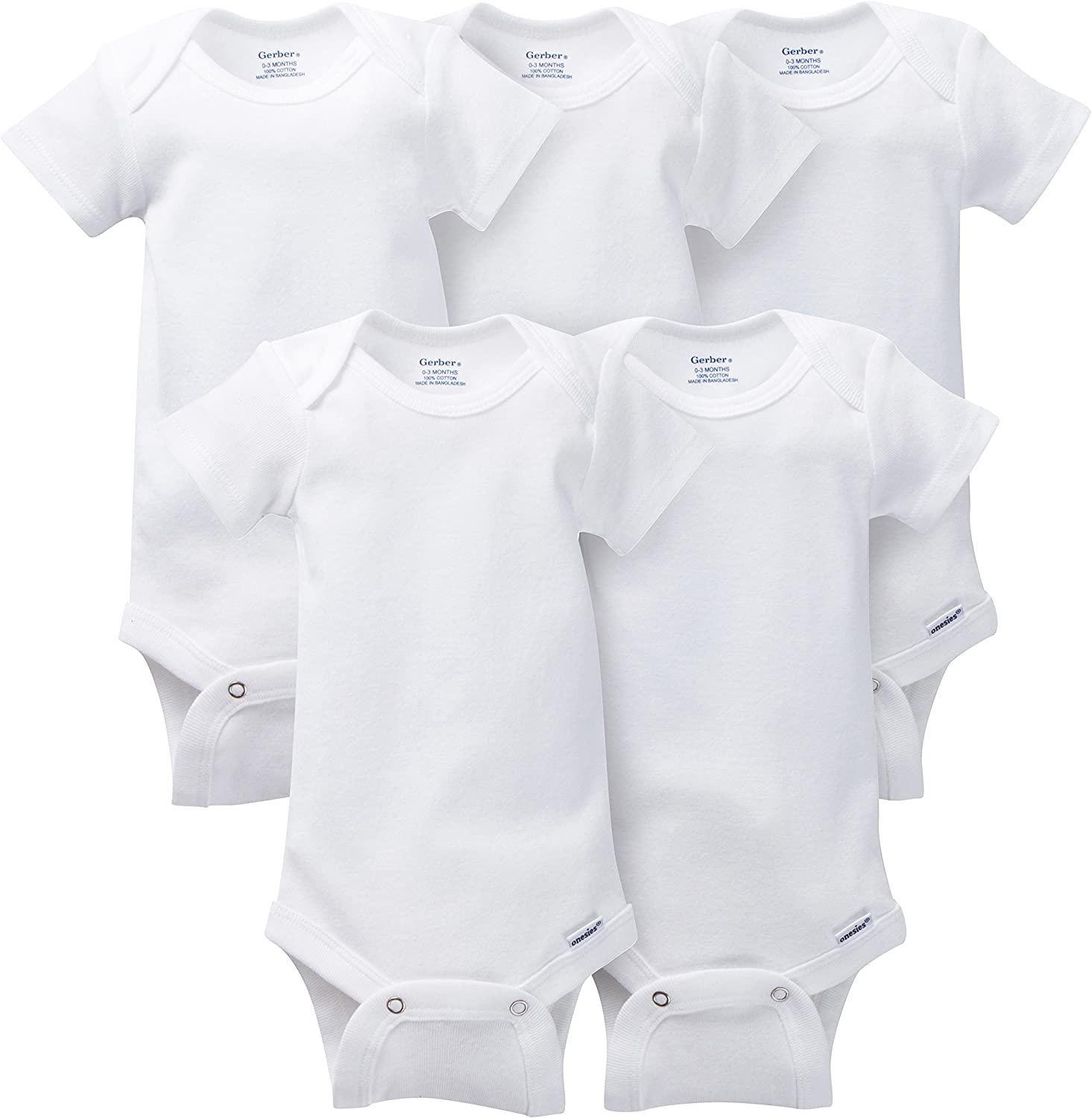 Gerber Baby 5-Pack Solid Onesies Bodysuits, White, Newborn WHT: Infant And Toddler Bodysuits: Clothing