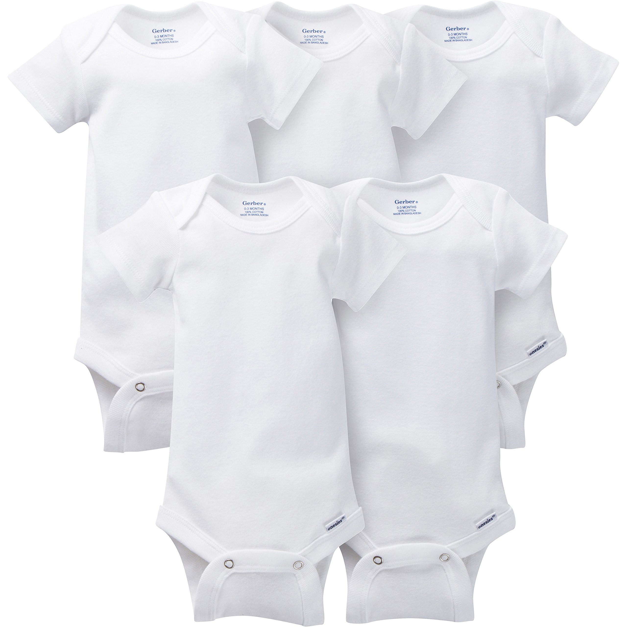 Gerber Baby 5-Pack Solid Onesies Bodysuits, White, 0-3 Months