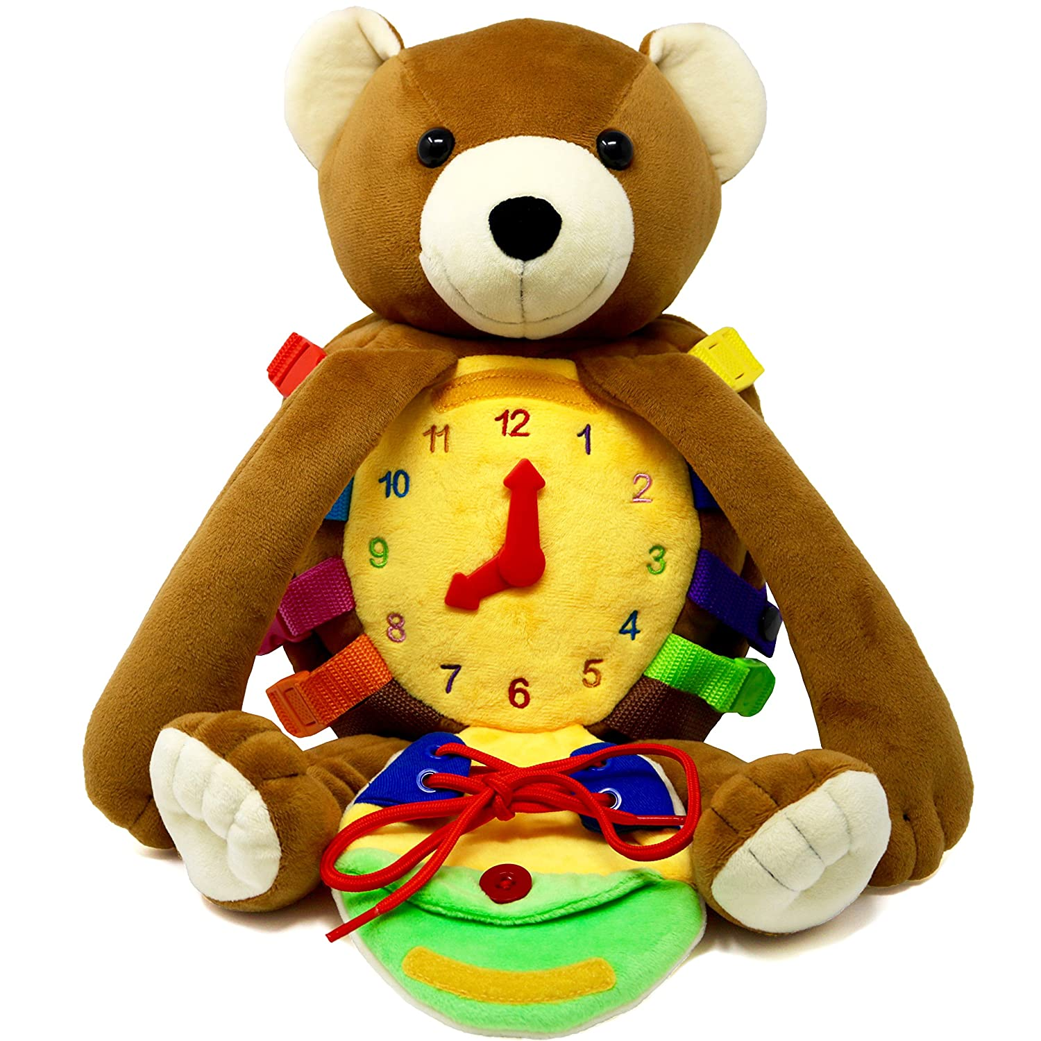 """BUCKLE TOY """"Billy"""" Backpack Bear – Toddler Life Skills Plush Travel Activity. Learn to Snap, Zip, Button, Tell Time, Tie Shoes and more Buckle Toy Inc"""