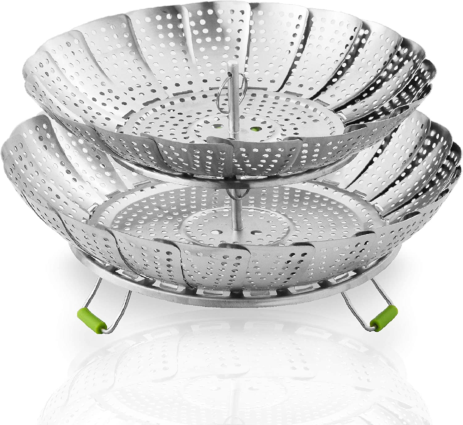 """Food Steamer Baskets For Cooking 2 Layers - Expandable & Collapsible Vegetable Steamer Basket Stainless Steel (7"""" - 10.8"""") - Easy To Use Cooking Steamer Basket For Instant Pot Steamer Insert w/Handle"""