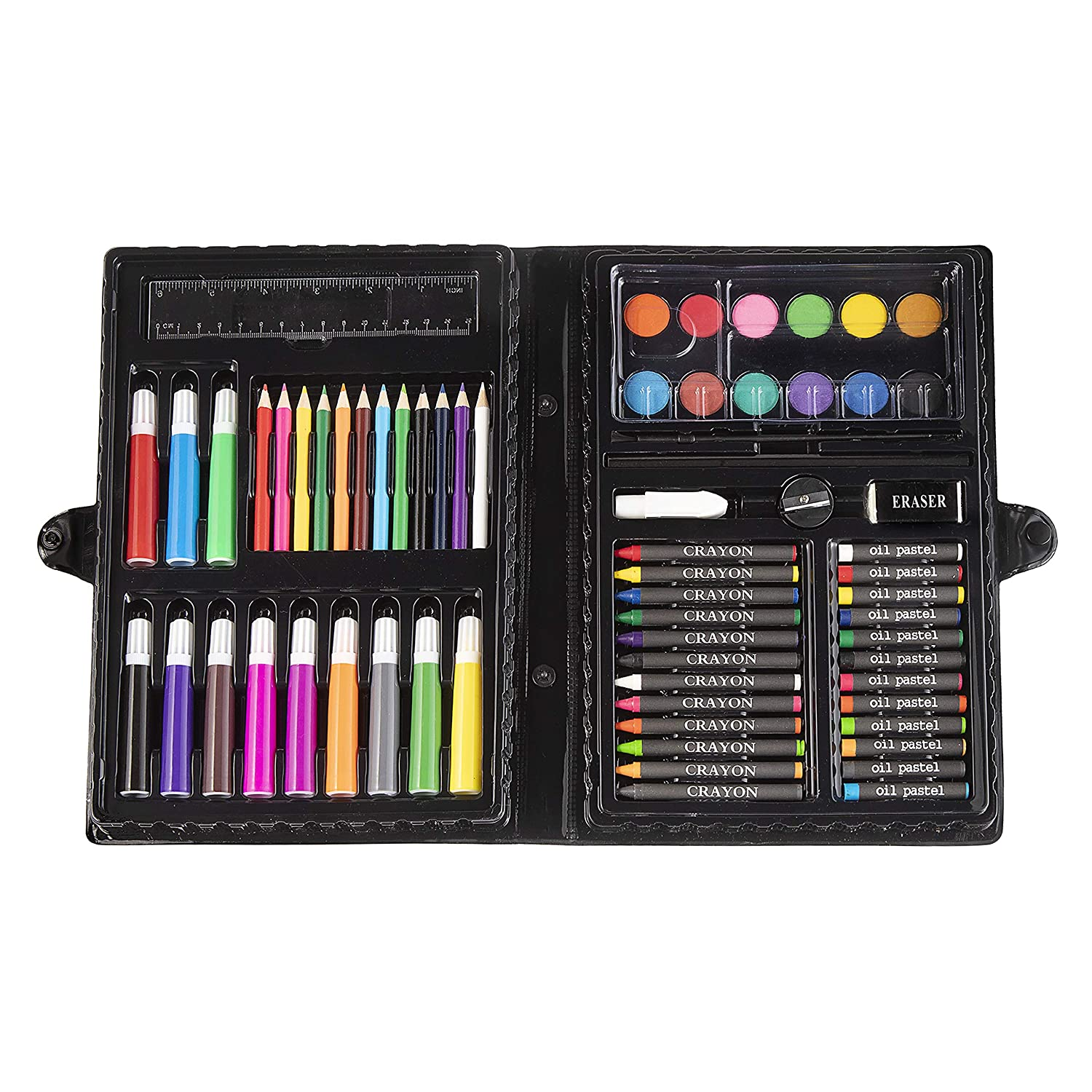 Darice 120-Piece Deluxe Art Set – Art Supplies for Drawing, Painting and More in a Plastic Case - Makes a Great Gift for Children and Adults 1103-02