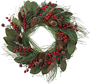 YNYLCHMX Christmas Wreath for Front Door, Artificial Door Wreath Flushed with Magnolia Leaves, Red Berry, Pine Cones, Pine Needle, Home Decor for Indoor, Wall, Fireplace, Decoration, 24 Inch