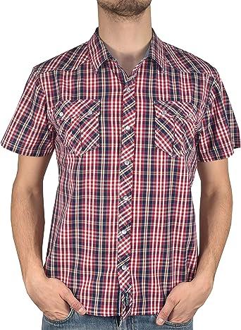 1stAmerican Casual Camisa Hombre 100% Algodon - Blusa Manga Corta Cuello clásico - Camisetas Doble Bolsillo en el Pecho con broches - Slim fit: Amazon.es: Ropa y accesorios