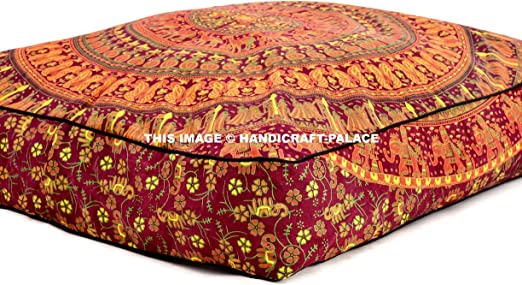 "35X6/"" Indian Large Square Cushion Cover Cotton Floor Pillow Orange Mandala Throw"