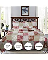 YESHOME Printed Quilt Set Patchwork Decorative Bedspread Coverlet - King, Full/Queen Size-Chic Story(Full)
