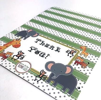 Amazon Com Adorox 48 Pieces Baby Jungle Zoo Animals Thank You Cards
