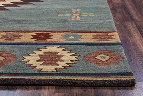 Rizzy Home Southwest Hand-Tufted Area Rug 12 x 15 Grey Blue