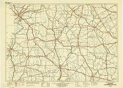 Map Of Georgia Railroads.Amazon Com Historic Map Georgia 1943 5 Georgia Transportation