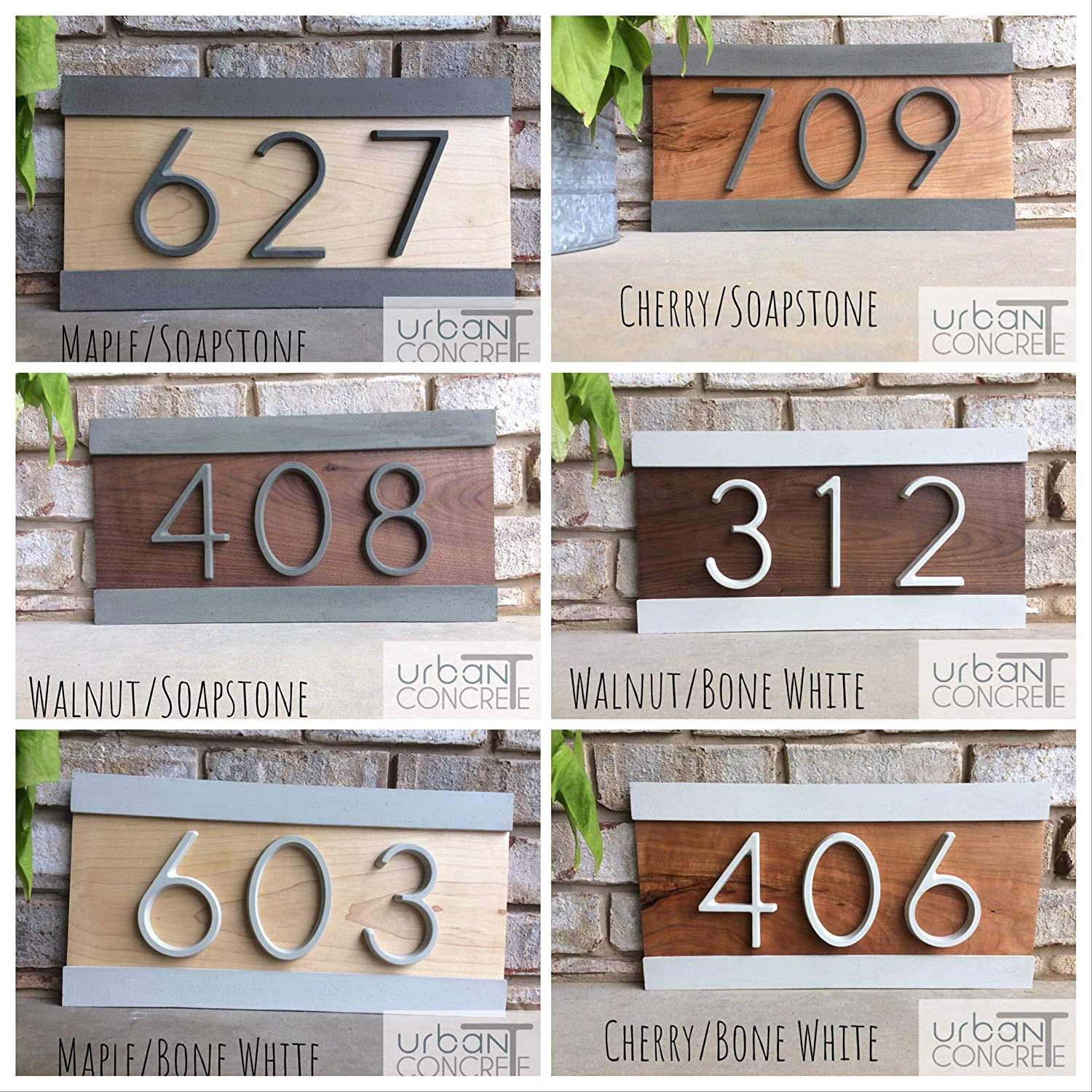 H Custom House Address Sign Modern Wood And Concrete Address Plaque Modern House Numbers Realtor Closing