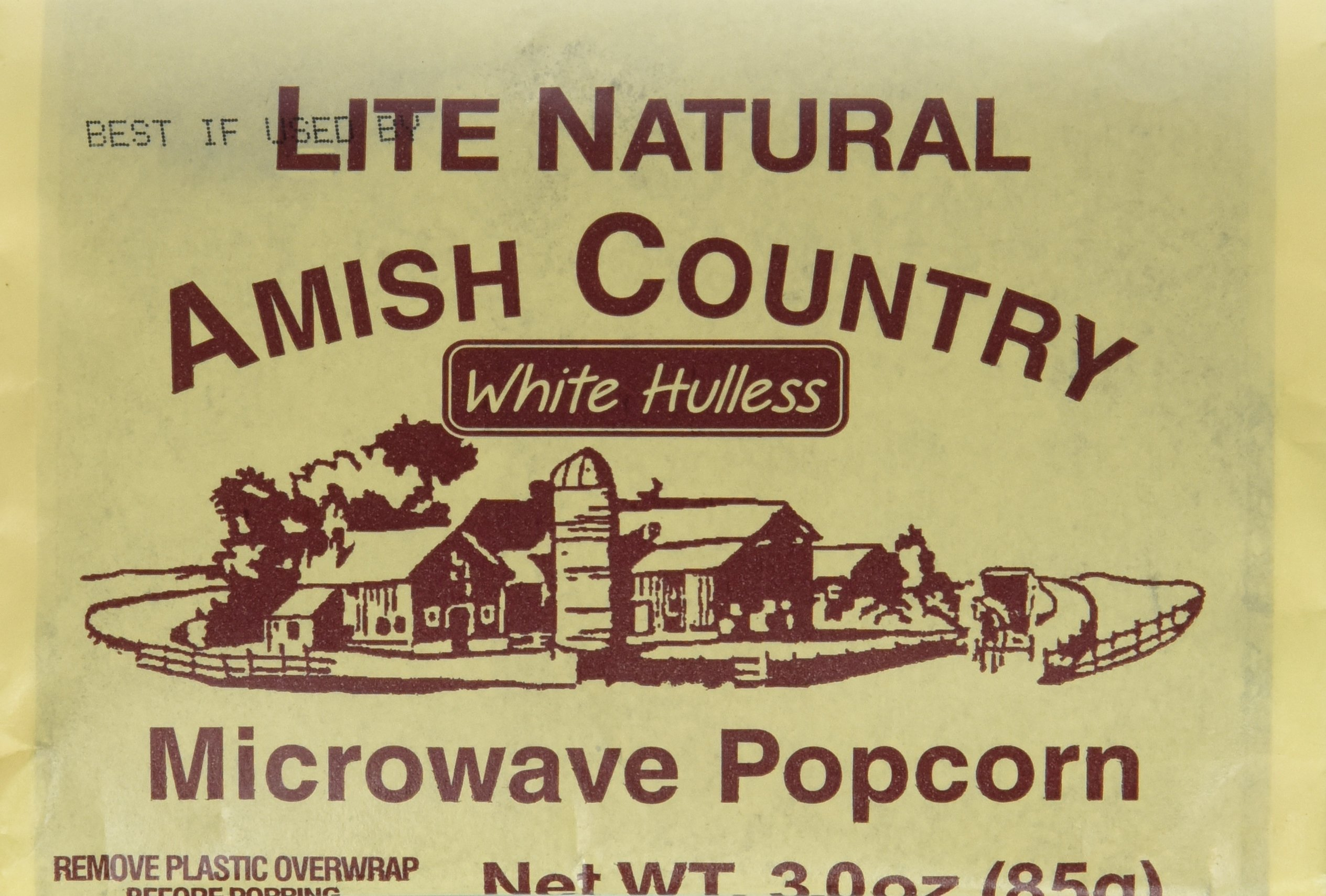 Amish Country Microwave Popcorn 10 Bags White Hulless Lite Natural - with Recipe Guide